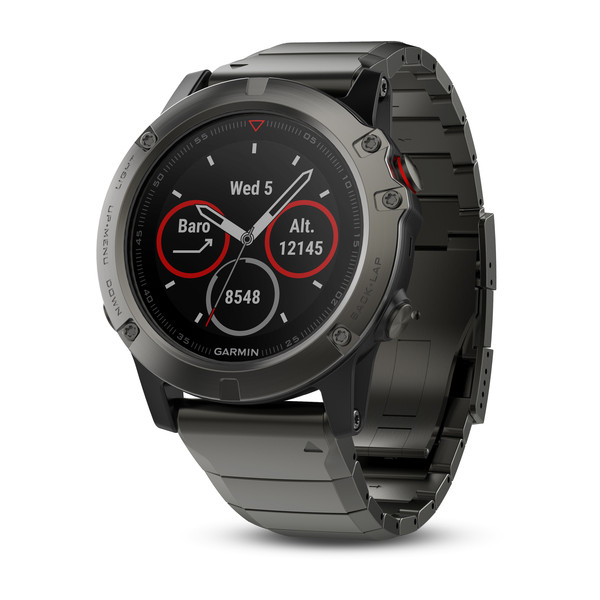 Garmin fenix 5X GPS Watch - Sapphire Slate Grey/Metal Band