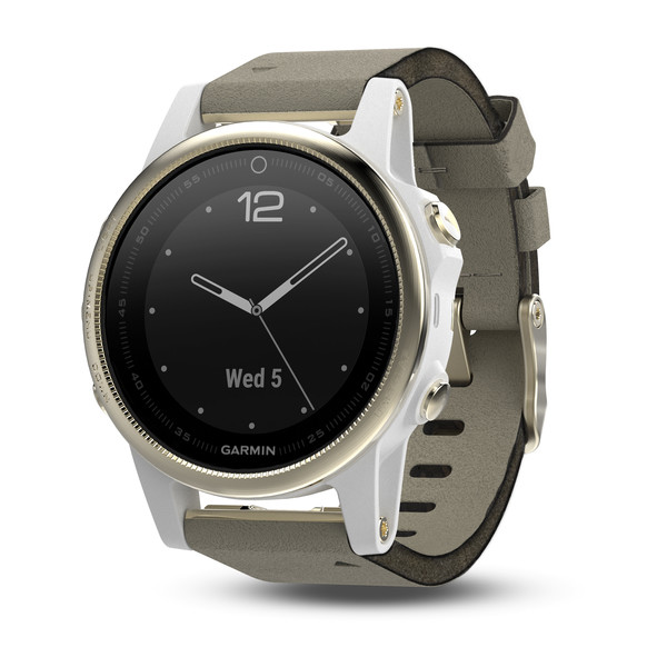 Garmin fenix 5S GPS Watch - Champagne Sapphire with Gray Suede Band