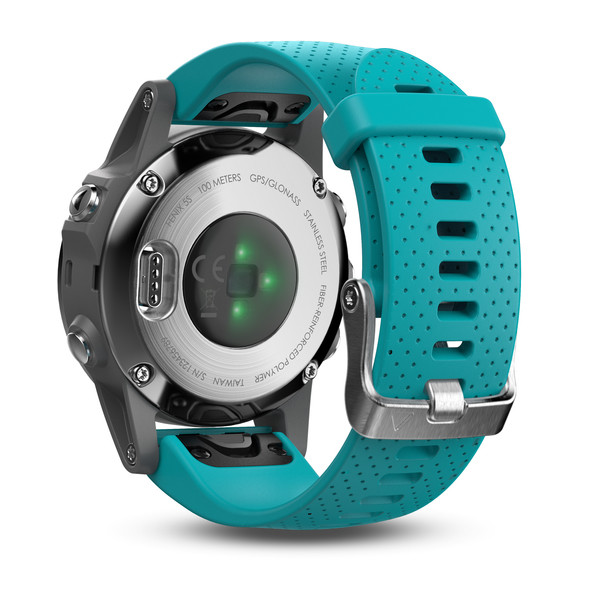 Garmin fenix 5S GPS Watch - Silver with Turquoise Band