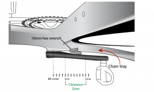 The clearance between the frame and left side power meter crank arm