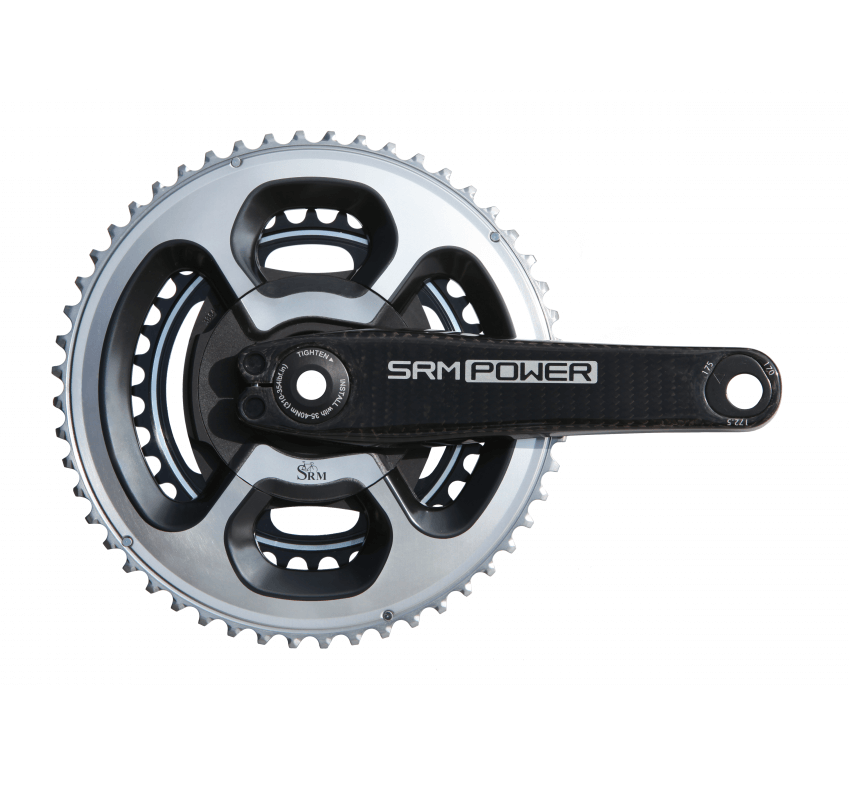 Front image of SRM Origin Carbon Power Meter with DURA-ACE 9000 chainrings