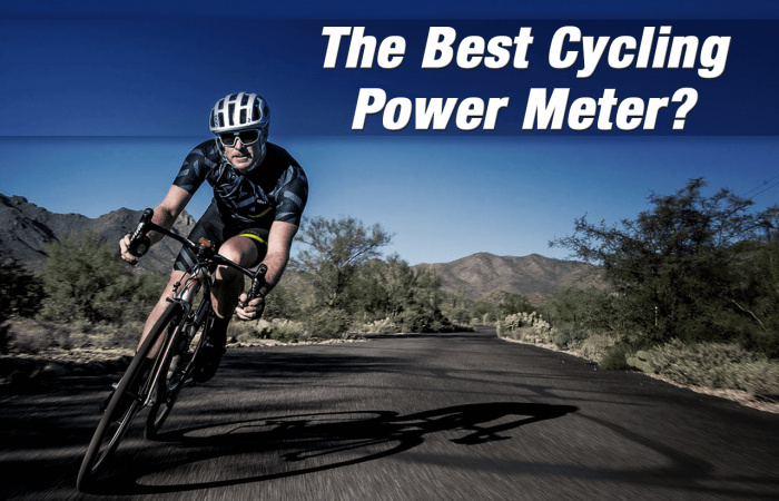 Our banner for our best cycling power meter article which shows a road cyclist at speed