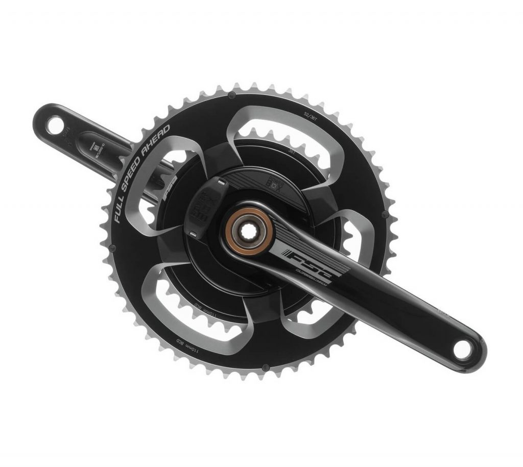 Front view of the FSA Road PowerBox Alloy Crankset Power Meter