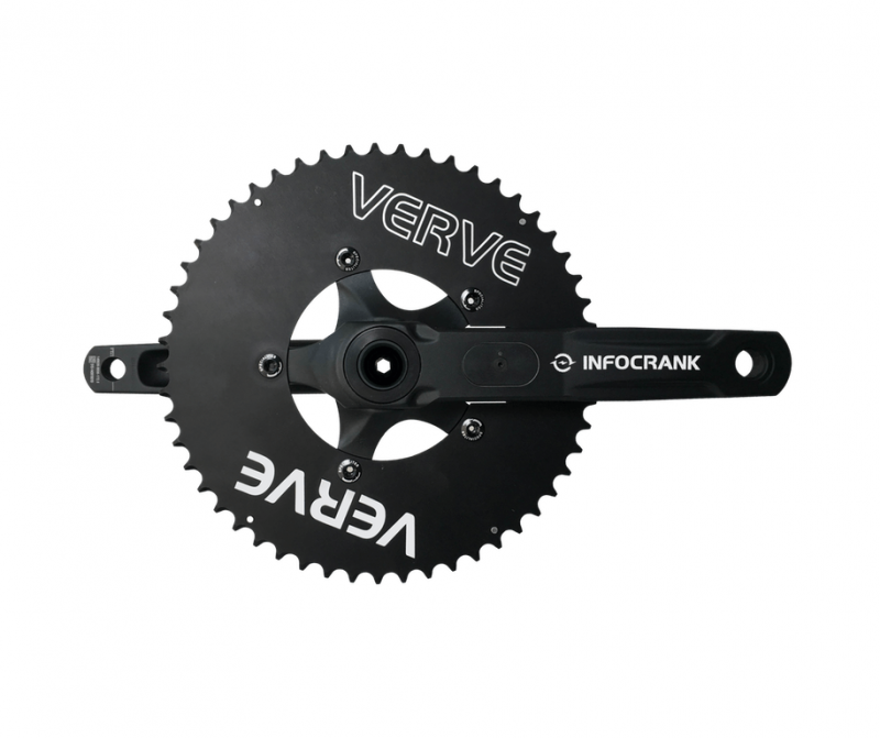 Verve InfoCrank Aero Chainrings installed on a Verve InfoCrank power meter