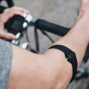 Polar OH1 Optical Heart Rate Sensor being worn on the right forearm