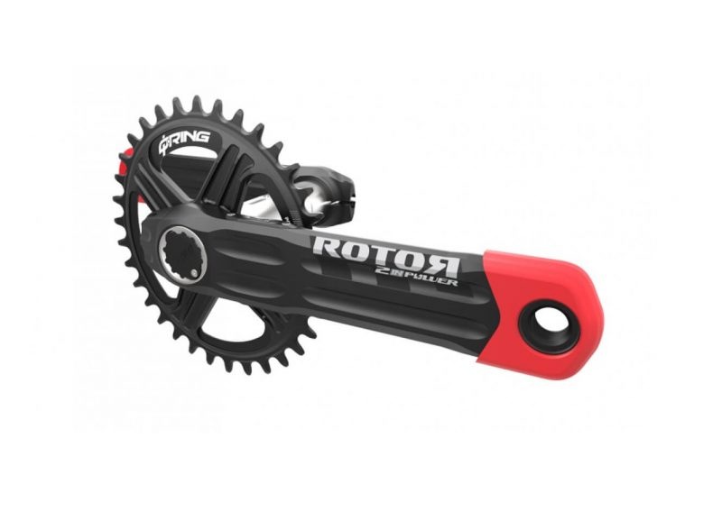 ROTOR 2INpower MTB crankset power meter with red boots