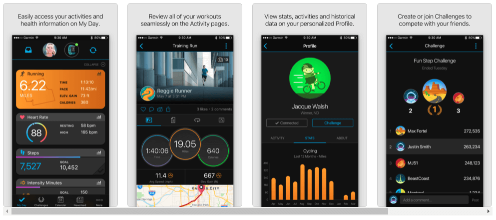 Garmin smartphone app screen images