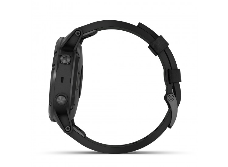 Garmin fenix 5 Plus GPS Watch - Sapphire Black with Black Leather Band