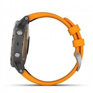 Garmin fenix 5 Plus GPS Watch - Sapphire, Titanium with Solar Flare Orange Band