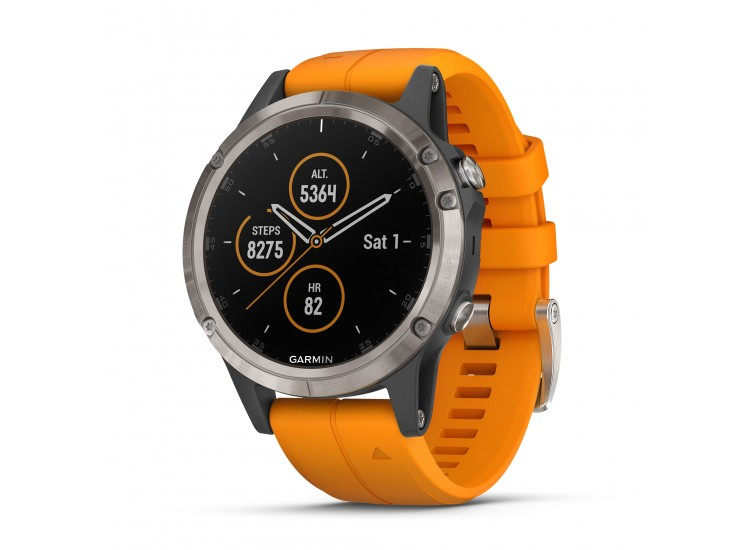 Garmin fenix 5 Plus GPS Watch - Sapphire, Titanium with Solar Flare Orange Band