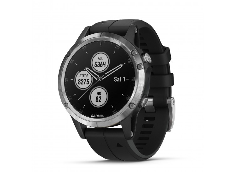 Garmin fenix 5 Plus GPS Watch - Silver with Black Band