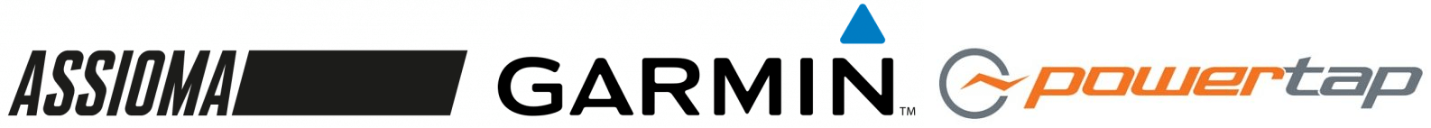 Image of Assioma, Garmin, and PowerTap Logos