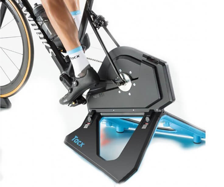 Tacx NEO 2 Smart Bike Trainer with rider