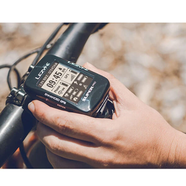 Lezyne Super Pro GPS Cycling Computer on a mountain bike