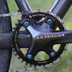 Wolf Tooth 110 BCD 4-Bolt Shimano Chainring installed on a Shimano R8000 crankset