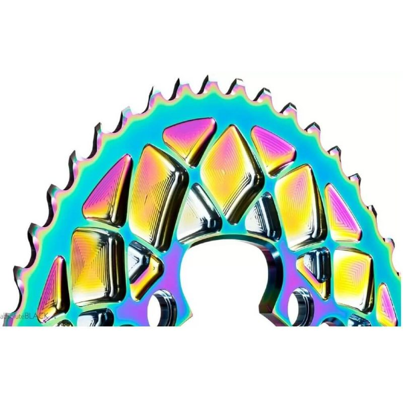 absoluteBLACK Premium Oval PVD Rainbow Chainrings for Shimano